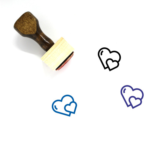 Hearts Wooden Rubber Stamp No. 280