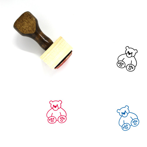 Teddy Bear Wooden Rubber Stamp No. 65