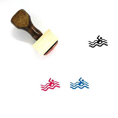 Swimming Wooden Rubber Stamp No. 39