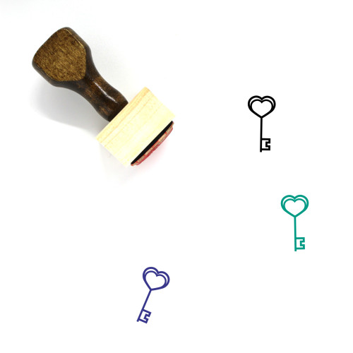 Heart Key Wooden Rubber Stamp No. 43