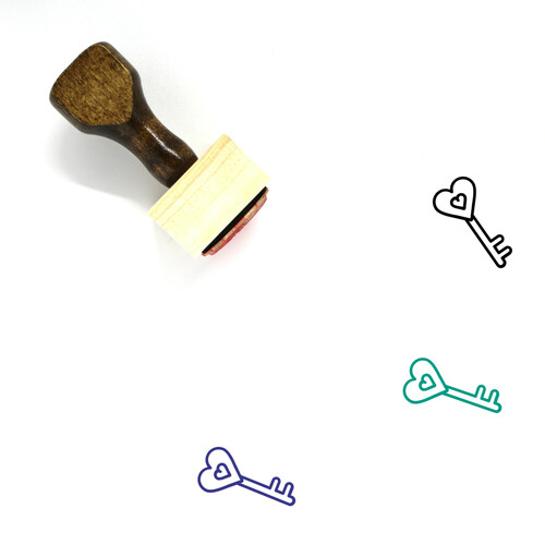 Heart Key Wooden Rubber Stamp No. 44