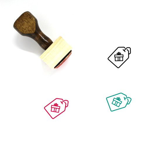 Gift Tag Wooden Rubber Stamp No. 19