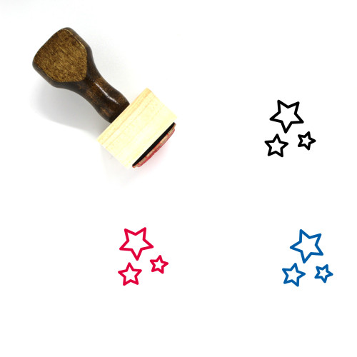 Stars Wooden Rubber Stamp No. 66
