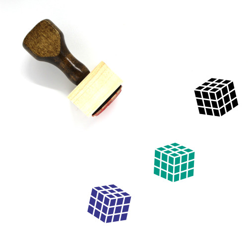 Rubiks Cube Wooden Rubber Stamp No. 16