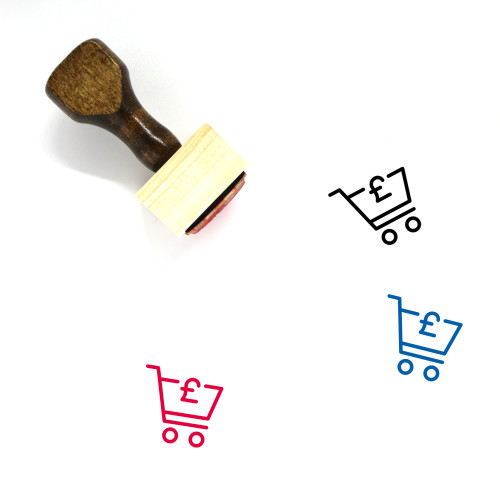 Pound Shopping Cart Wooden Rubber Stamp No. 1