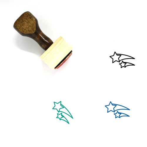 Shooting Stars Wooden Rubber Stamp No. 4