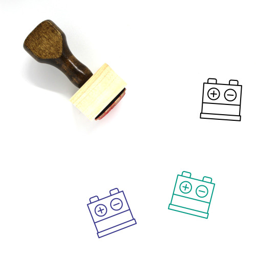 Car Battery Wooden Rubber Stamp No. 32
