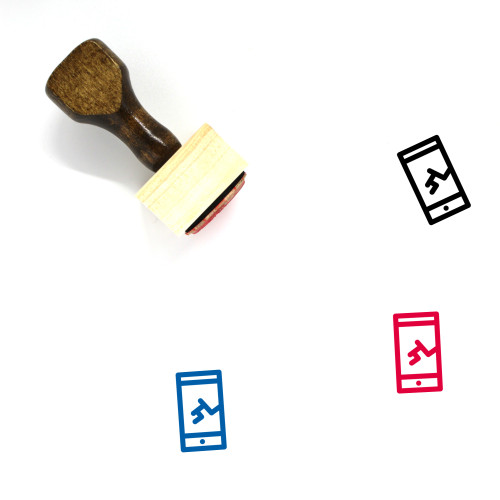 Broken Smartphone Wooden Rubber Stamp No. 16
