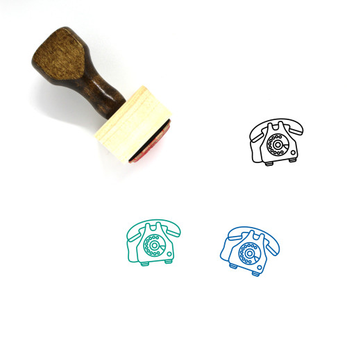 Telephone Wooden Rubber Stamp No. 113