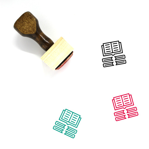 Open Book Wooden Rubber Stamp No. 25