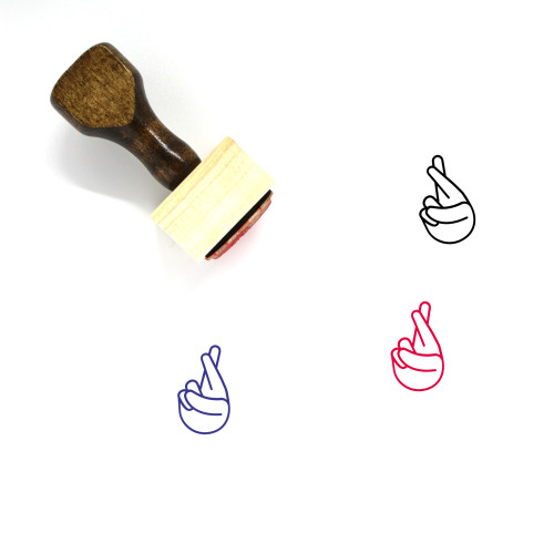Fingers Crossed Wooden Rubber Stamp No. 21