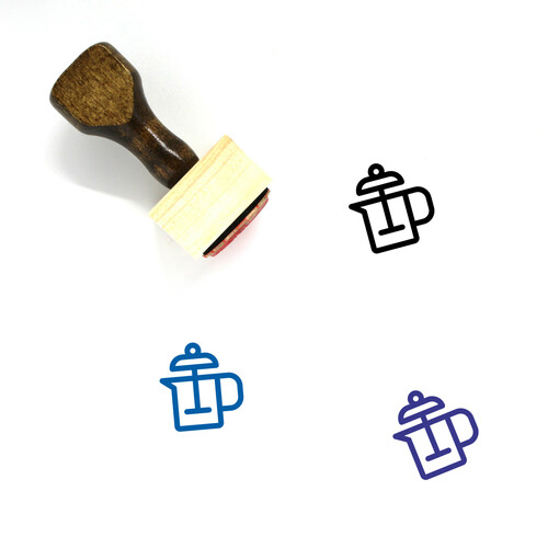 Coffee Plunger Wooden Rubber Stamp No. 4