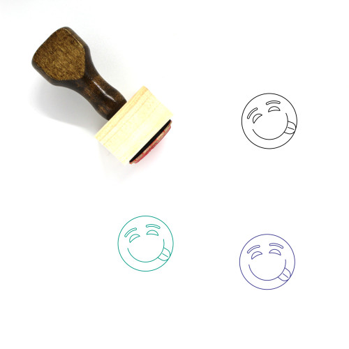 Smiley Face Wooden Rubber Stamp No. 6