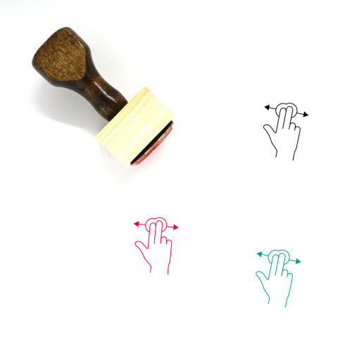 Two Finger Horizontal Swipe Wooden Rubber Stamp No. 3