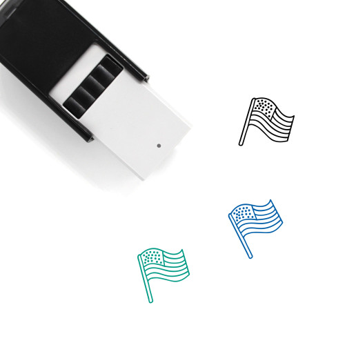 American Flag Self-Inking Rubber Stamp No. 18