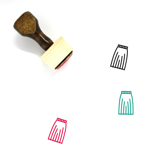 Long Pleated Skirt Wooden Rubber Stamp No. 2