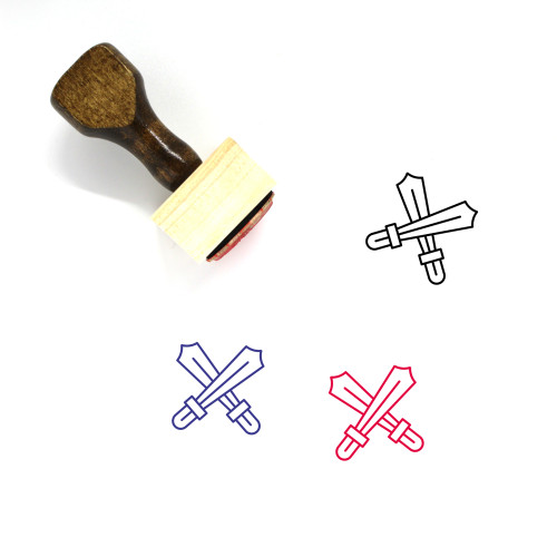 Swords Wooden Rubber Stamp No. 87