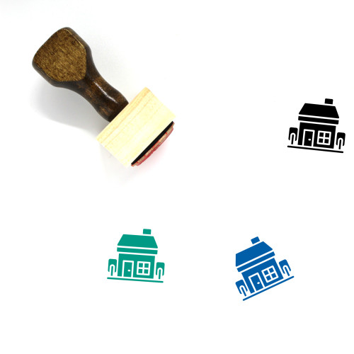 Family House Wooden Rubber Stamp No. 7