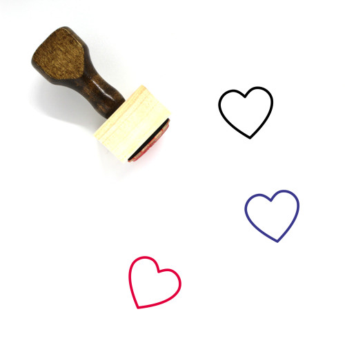 Heart Wooden Rubber Stamp No. 1490