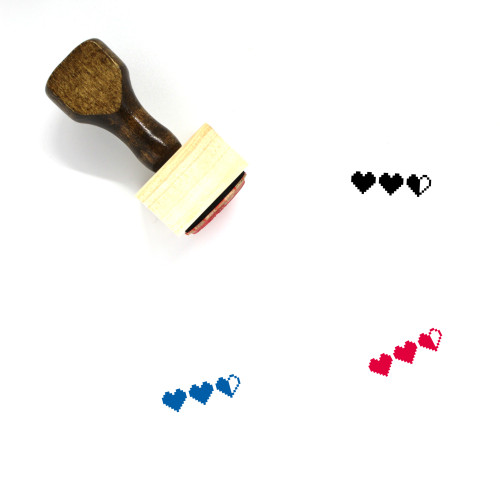 Hearts Wooden Rubber Stamp No. 284