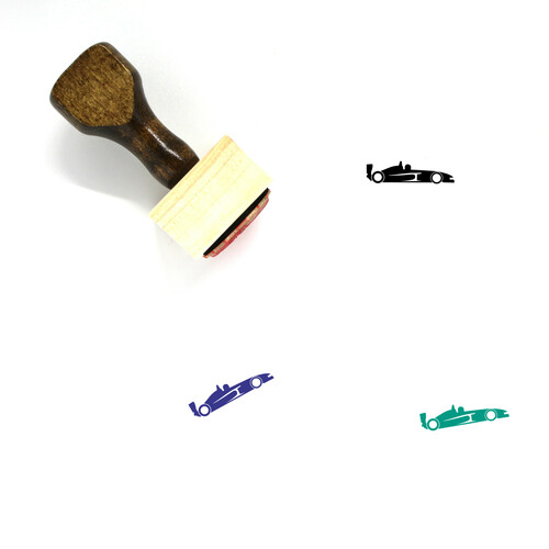 Race Car Wooden Rubber Stamp No. 10