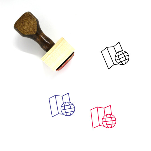 Global Map Wooden Rubber Stamp No. 5