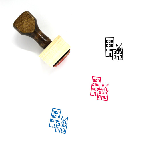 Building Fire Wooden Rubber Stamp No. 1
