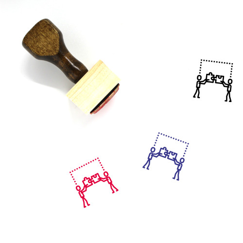 Puzzle Pieces Wooden Rubber Stamp No. 3