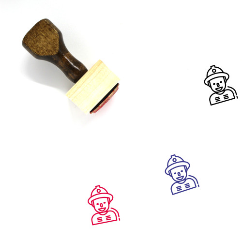 Fireman Wooden Rubber Stamp No. 29