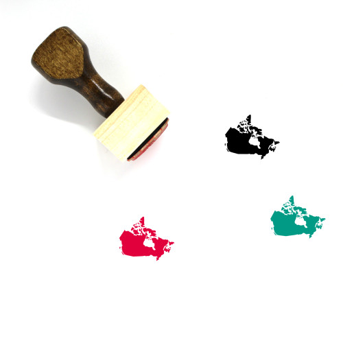 Map Of Canada Wooden Rubber Stamp No. 10