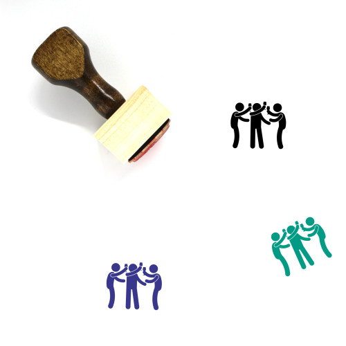 Friends Toasting Wooden Rubber Stamp No. 1