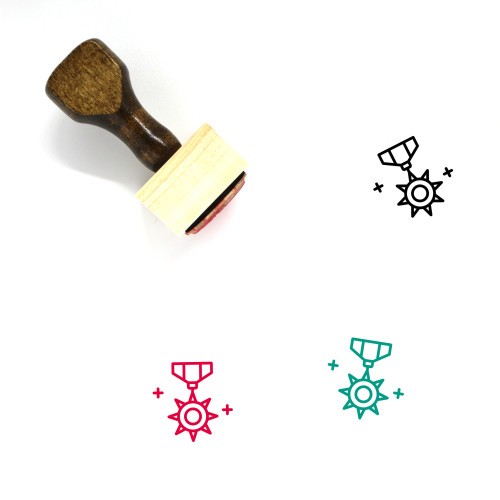 Star Badge Wooden Rubber Stamp No. 38