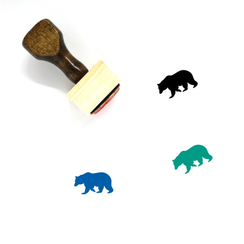 Bear Wooden Rubber Stamp No. 148