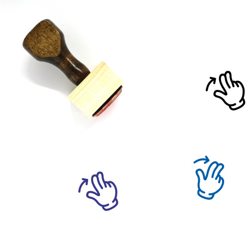 Two Finger Swipe Right Wooden Rubber Stamp No. 15