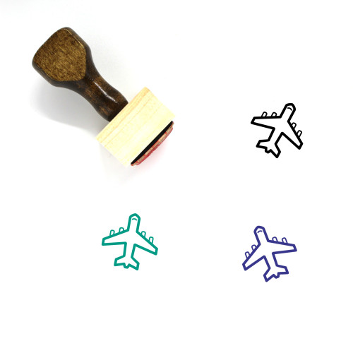 Airplane Wooden Rubber Stamp No. 343
