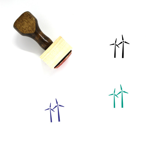 Windmills Wooden Rubber Stamp No. 11