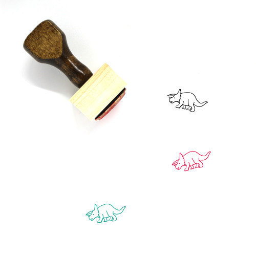 Triceratops Wooden Rubber Stamp No. 15