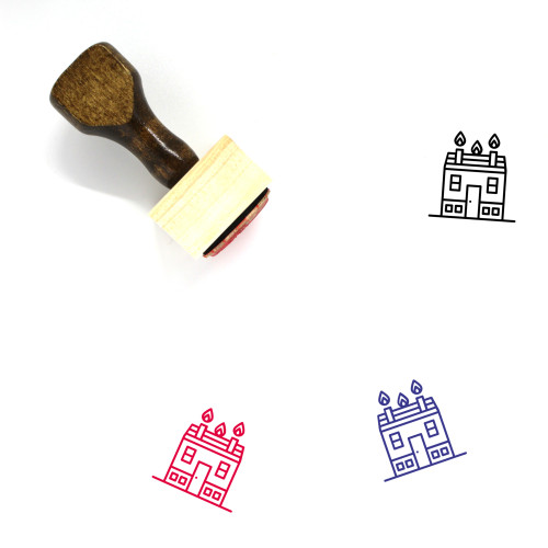 House Fire Wooden Rubber Stamp No. 23
