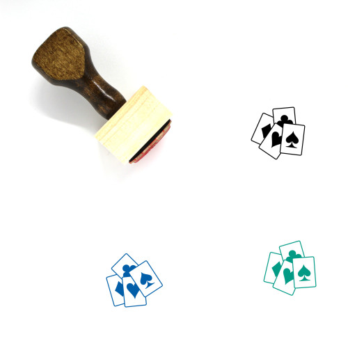 Playing Cards Wooden Rubber Stamp No. 56