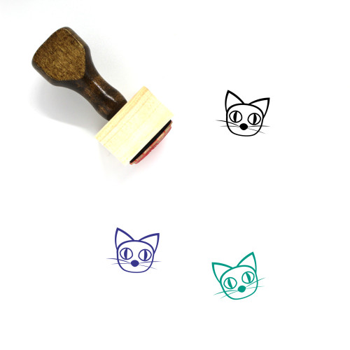 Creepy Cat Wooden Rubber Stamp No. 1