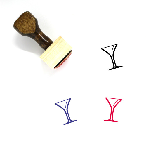 Martini Glass Wooden Rubber Stamp No. 7
