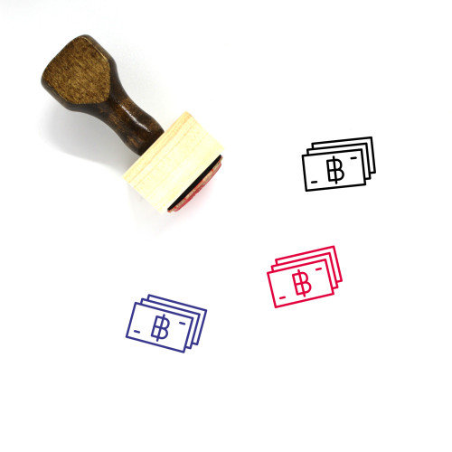 Thai Baht Wooden Rubber Stamp No. 4