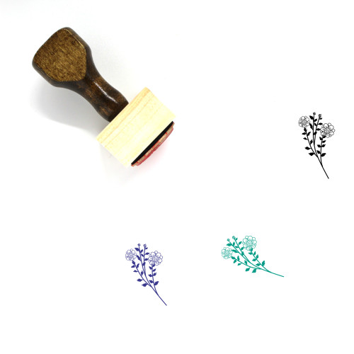 Floral Wooden Rubber Stamp No. 46
