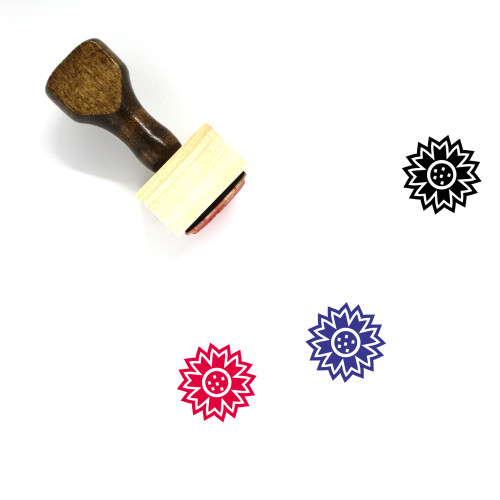 Bachelor Button Wooden Rubber Stamp No. 1