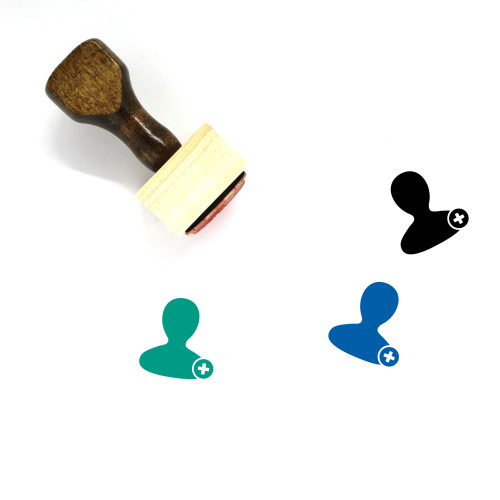 Add User Wooden Rubber Stamp No. 64