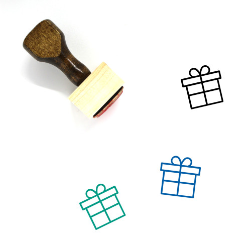 Gift Box Wooden Rubber Stamp No. 45