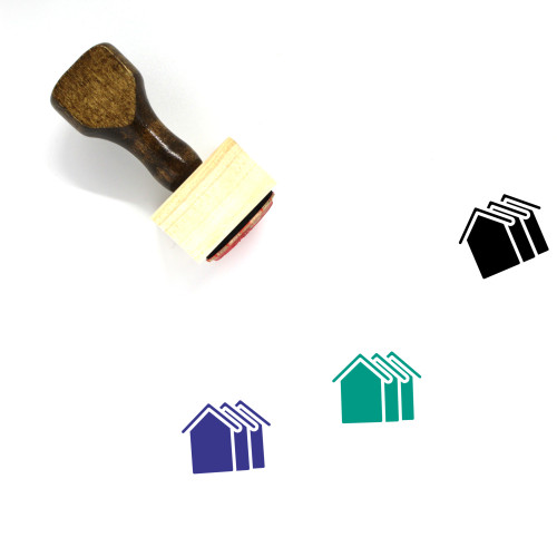 Houses Wooden Rubber Stamp No. 39