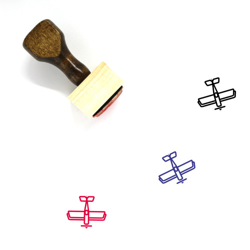 Biplane Wooden Rubber Stamp No. 1