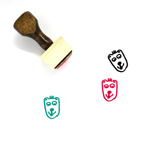 Bear Doodle Wooden Rubber Stamp No. 1