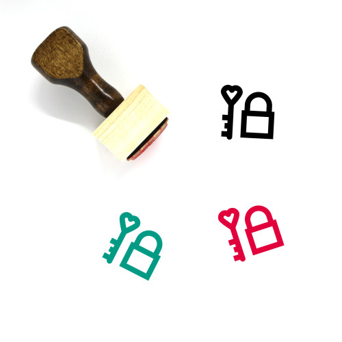 Heart Lock Wooden Rubber Stamp No. 19